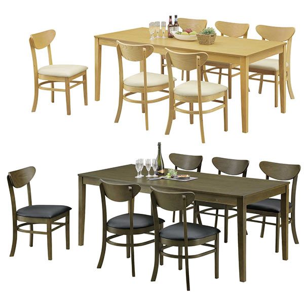 ダイニングテーブルセット 6人掛け アッシュ突板 木製 ラバーウッド材 合成皮革 椅子 6脚 6人用 ダイニング7点セット 食卓 おしゃれ リビングダイニングセット ダイニングチェア 食卓テーブル 合皮 ナチュラル ブラウン 幅180テーブル 幅180センチ 180x80