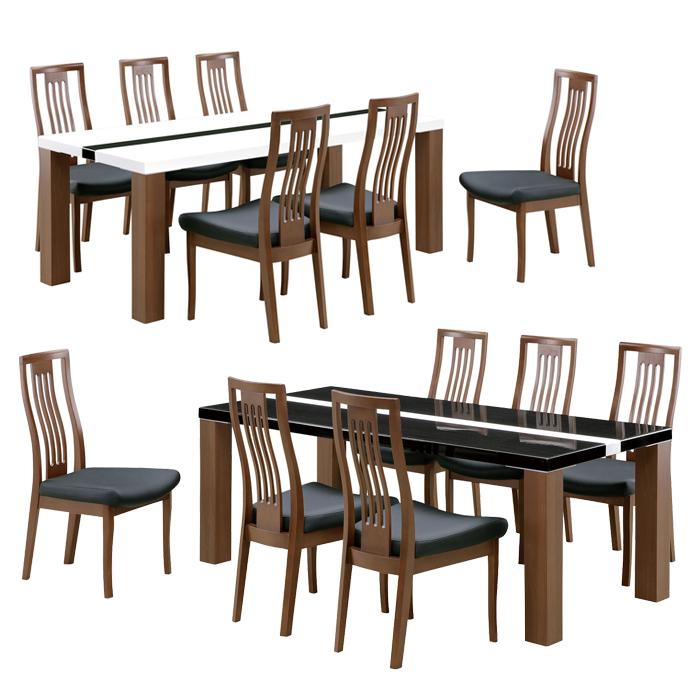 ダイニングテーブルセット ダイニングセット 6人掛け 7点セット 180×85 135テーブル 幅180cm ブラック ホワイト 選べる2色 黒 白 モノトーン ダイニングテーブル UV塗装 ダイニングチェア ハイバックチェア 木製 北欧 スタイリッシュ モダン 食卓セット 送料無料