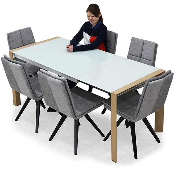 伸長 ダイニングテーブルセット ダイニングセット 7点 6人 幅128cm 幅178cm ガラス 伸縮 テーブル ホワイト 白 奥行き80cm 座面 布 ファブリック 北欧 木製 長方形 送料無料