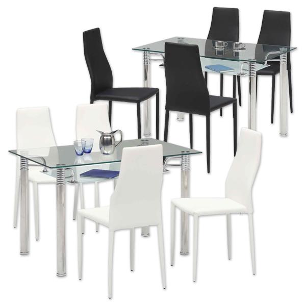ガラスダイニングテーブルセット 高級感 幅120 北欧 5点セット 食卓セット ホワイト ブラック おしゃれ 強化ガラス 4人掛け ダイニングチェア ハイバック仕様 リビング 正方形 省スペース レザーチェア ガラス 収納棚 モダンテイスト 送料無料