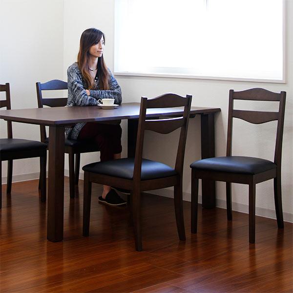 ダイニングテーブルセット ダイニングセット 幅150cm 5点セット 4人掛け 4人用 食卓セット 長方形 ダイニングテーブル x1 ダイニングチェア x4 ブラウン 座面 合成皮革 PVC おしゃれ モダン シック 北欧 木製 木目調 通販
