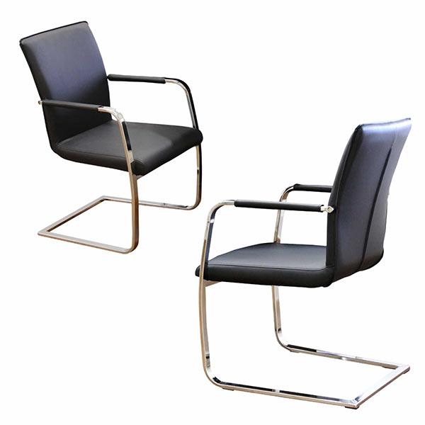 チェア 椅子 2脚入り ブラック アーム付き ダイニングチェア 黒 肘付き カンチレバーチェア 1人掛け 1人用 座面 合成皮革 合皮 北欧 モダン 木製 通販 送料無料