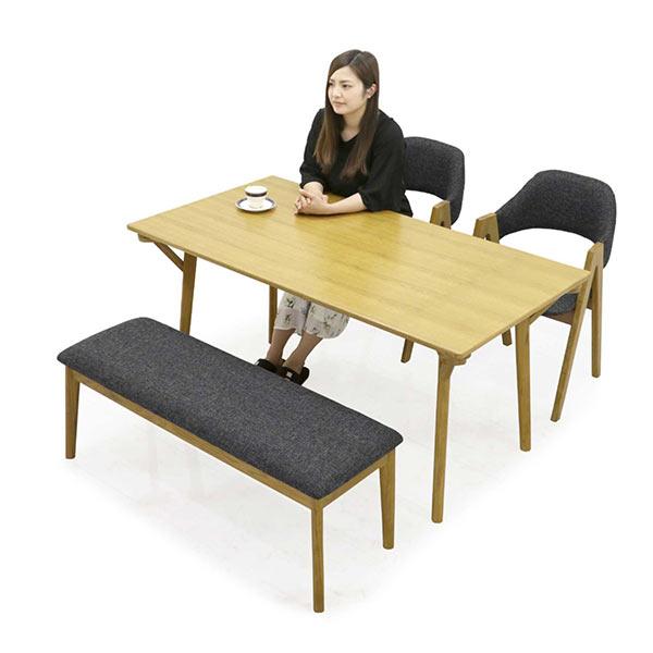 ダイニングセット ダイニングテーブルセット 4点セット 4人掛け 150×80 150テーブル ベンチ 長椅子 布地 ファブリック オーク材 オーク無垢 無垢材 カントリー調 北欧 モダン シンプル 木製 食卓セット 人気 通販 送料無料