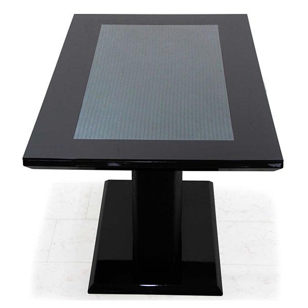 ガラステーブル 黒 ブラック 幅140 140x80 ガラストップ ダイニングテーブル 強化ガラス 編み目型押し 編み込み 立体的 モダン ラグジュアリー