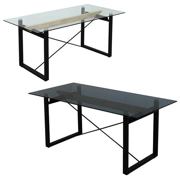 ガラステーブル ダイニングテーブル テーブル 幅180cm クリア スモーク 選べる2色 奥行き70cm 高さ76cm テーブル単体 北欧 木製 長方形 送料無料