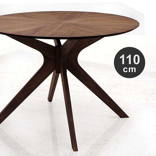ブラウン 幅110cm テーブル ウォルナット材 シンプル 送料無料 おしゃれ モダン 高級感 ラウンドテーブル 円形 丸型 ダイニングテーブル 木製
