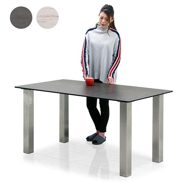 セラミックテーブル 幅150cm 150x80 セラミック ダイニングテーブル セラミックトップ 4人掛け用 陶磁器 鏡面仕上げ 強化ガラス 2層構造 ホワイト グレー色 耐熱 硬度 防水 ステンレス製脚 高級感 デザイナーズ テーブル単品 おしゃれ