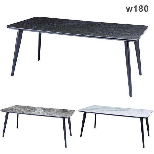 ダイニングテーブル セラミック 幅180 180x88 マーブル柄 大理石調 セラミックトップ 白 黒 ホワイト ブラック グレー色 陶磁器 長方形 耐熱 硬度 防水 調理作業テーブル おしゃれ 高級感 モダン