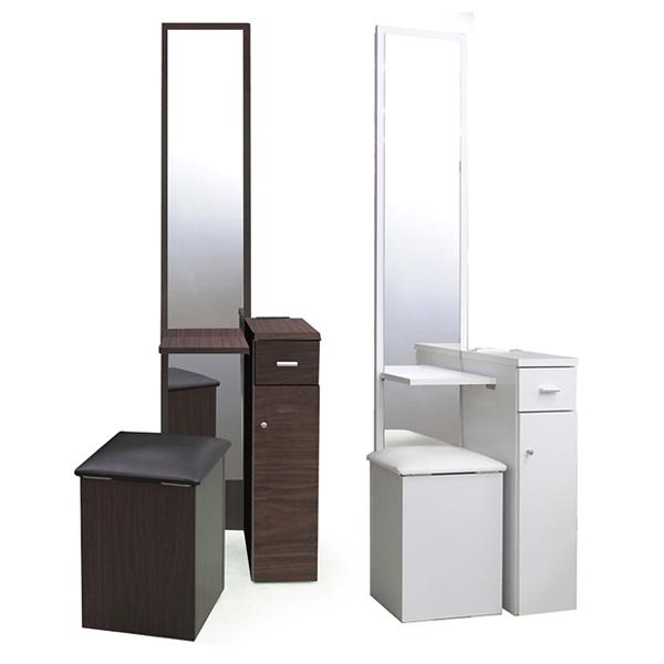 ドレッサー 化粧台 幅45 鏡台 北欧 シンプル ホワイト ブラウン コスメ 一面鏡 コンセント 座面下収納引き出し収納 椅子付き スツール 鏡 おしゃれ 高級感 一面鏡ドレッサー 送料無料