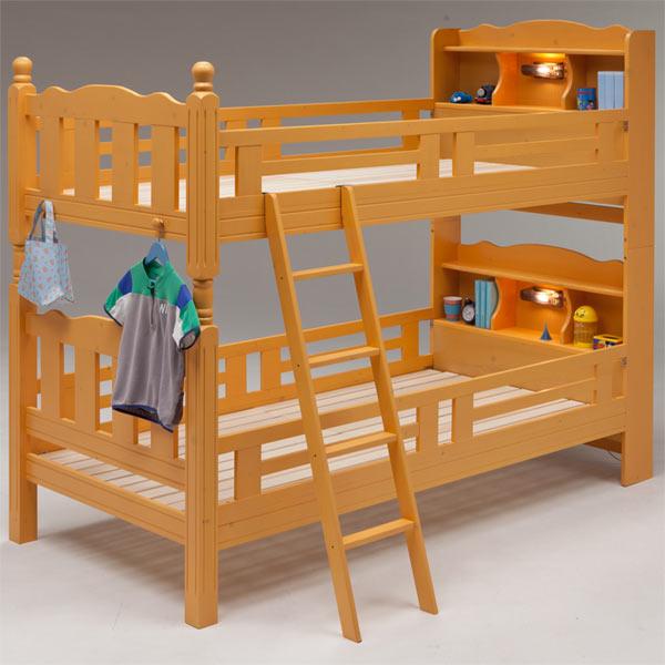 2段ベッド ベッド ベット 木製 すのこベッド 機能付きベッド 宮付き 棚付き ライト付き はしご付き 子供部屋 キッズ家具 シンプル モダン ナチュラル 北欧 木製 パイン材 送料無料 通販