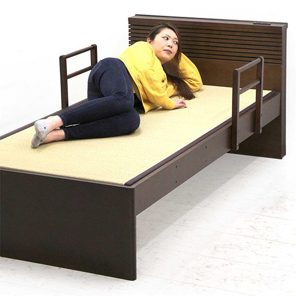 ベッド シングルベッド 畳ベッド タタミ 手すり付き ベット 和風 シングル すのこベッド ブラウン ベッドフレーム 棚付き 収納スペース付き コンセント付き 宮付き 木製 タモ材 おしゃれ 和モダン 送料無料