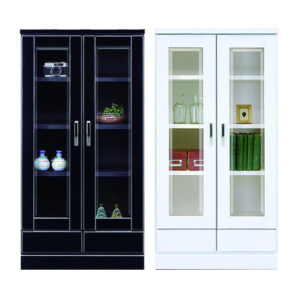 日本製 ミドルボード 幅60 リビング収納 食器棚 ホワイト ブラック 2色対応 国産 木製 モノトーンカラー シンプル 書棚 フリーボード ディスプレイ棚 木製 完成品 引き出し収納 取手 送料無料