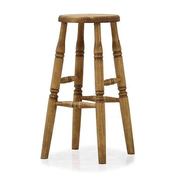 バースツール カントリー風 スツール 椅子 1人用 おしゃれ 幅33cm 高さ65cm 足置きステップ付き カウンターチェア カントリーテイスト パイン 無垢材 天然木 木製 オスモ 自然塗料 モダン オシャレ 完成品 送料無料