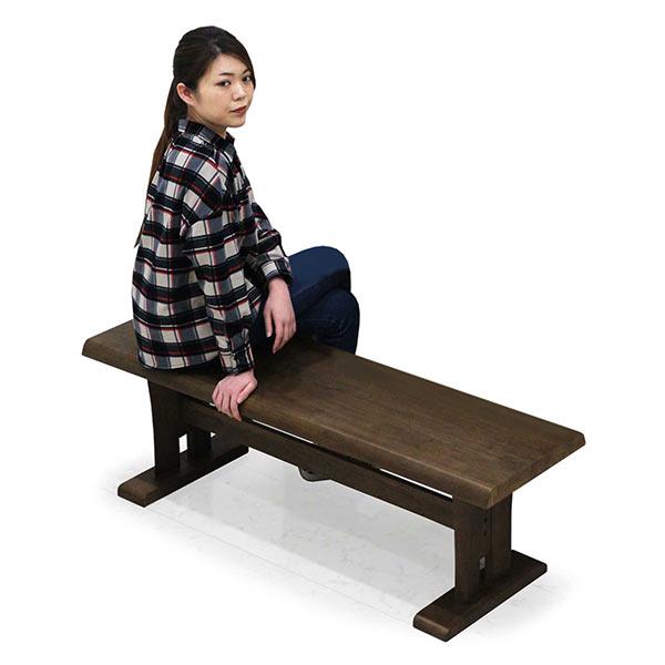 ダイニングベンチ ベンチ 無垢材 幅130cm 2人掛け 2人用 木製ベンチ 単体 ベンチのみ ベンチ 和テイスト ブラウン ラバーウッド 木製 長方形 ビンテージ ダイニング 和風 和 和モダン おしゃれ 通販 送料無料