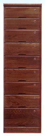 ハイチェスト チェスト 幅45cm 9段 ブラウン 鍵付き 木製 完成品 送料無料 通販