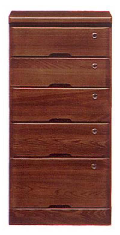 ローチェスト チェスト 幅45cm 5段 ブラウン 鍵付き 木製 完成品 送料無料 通販