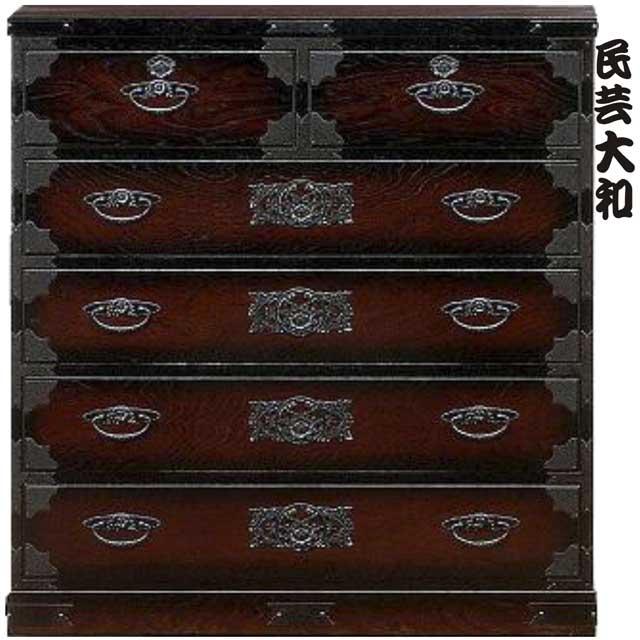 チェスト タンス 民芸調 ハイチェスト 幅90cm 5段 木製 シンプル モダン 完成品 通販