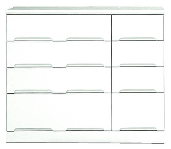 チェスト タンス ローチェスト 幅110cm 4段 衣類収納 箪笥 鏡面ホワイト シンプル 北欧 木製 日本製 完成品 送料無料 通販