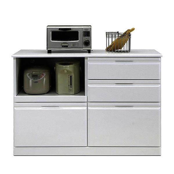 キッチンカウンター 120 光沢ホワイト スライドテーブル スライド棚 家電収納 背面化粧仕上げ 作業スペース 清潔感 シンプル