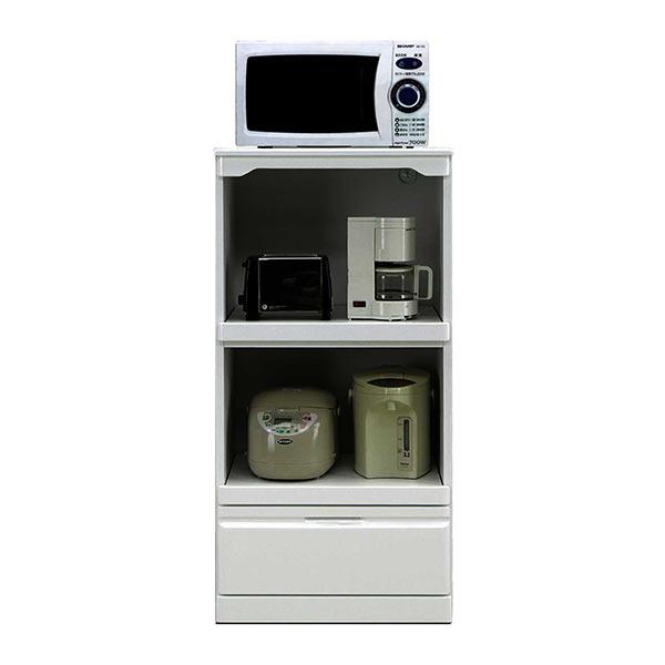 レンジ台 60幅 キッチン家電ラック マルチタイプ レンジボード 光沢ホワイト コンパクト 家電収納 オープン収納 スライド棚 引出収納 完成品