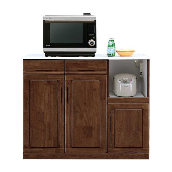 キッチンカウンター 120 ラバーウッド材 スライドテーブル付き マルチ収納 コンセント付き 家電収納 収納棚 開き戸収納 腰高 ナチュラル ブラウン MOISS 完成品