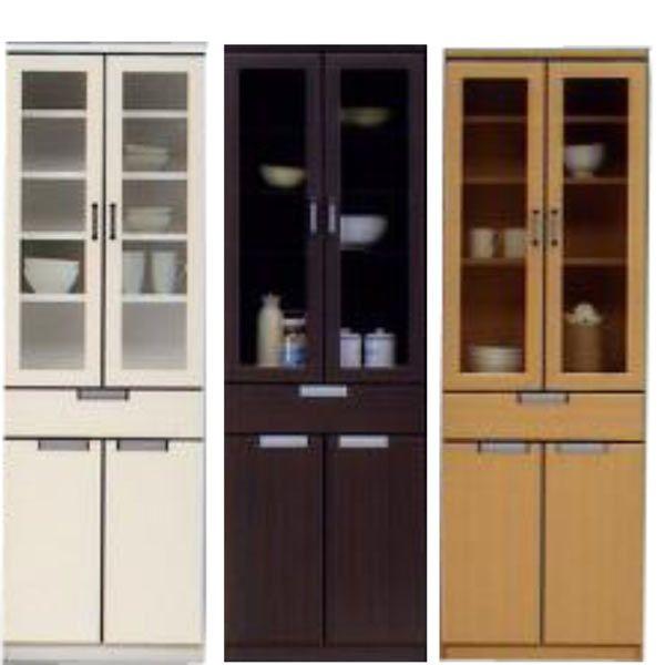 食器棚 幅60cm 高さ180cm 3色対応 ハイタイプ 開き戸 ガラス扉 木製 完成品 送料無料 通販