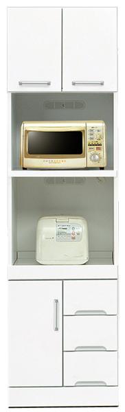 レンジ台 レンジボード 幅50cm ハイタイプ キッチン収納 鏡面ホワイト シンプル 北欧 木製 日本製 完成品 送料無料 通販