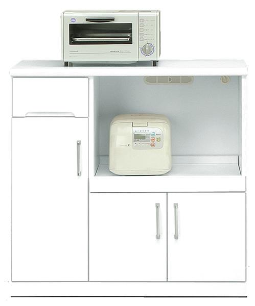 キッチンカウンター 幅90cm キッチン収納 隠しキャスター付き 鏡面ホワイト シンプル 北欧 木製 日本製 完成品 送料無料 通販