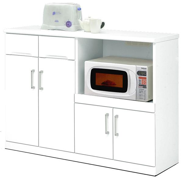 キッチンカウンター 幅120cm キッチン収納 隠しキャスター付き 鏡面ホワイト シンプル 北欧 木製 日本製 完成品 送料無料 通販