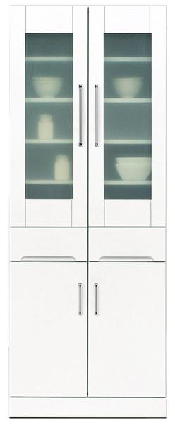 食器棚 幅70cm ダイニングボード キッチンボード キッチン収納 鏡面ホワイト シンプル 北欧 木製 完成品 日本製 送料無料 通販