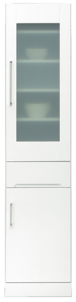 食器棚 幅40cm ハイタイプ すきま収納 隙間収納 キッチン収納 引き出しタイプ シンプル 北欧 鏡面ホワイト 木製 日本製 完成品 送料無料 通販