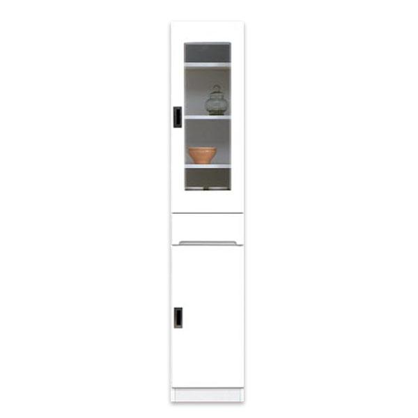 食器棚 幅35cm すきま収納 隙間収納 スリム型 キッチン収納 ガラス扉 シンプル 北欧 鏡面ホワイト 木製 完成品 送料無料 通販