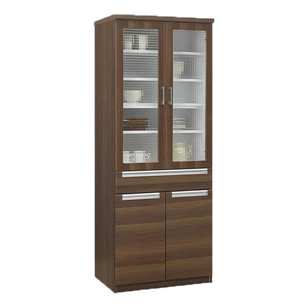 キッチン収納 食器棚 キッチンボード 開戸タイプ 木製 北欧 モダン シンプル ブラウン 幅70cm 高さ180cm ハイタイプ おしゃれ 完成品 送料無料 通販