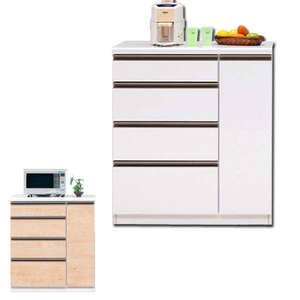 日本製 国産 キッチンボード ダイニングボード 幅90cm 奥行48cm 高さ85cm キッチン収納 選べる2色 ホワイト レンジ台 魅せる収納 キッチン 引き出し 家具通販 通販 送料無料
