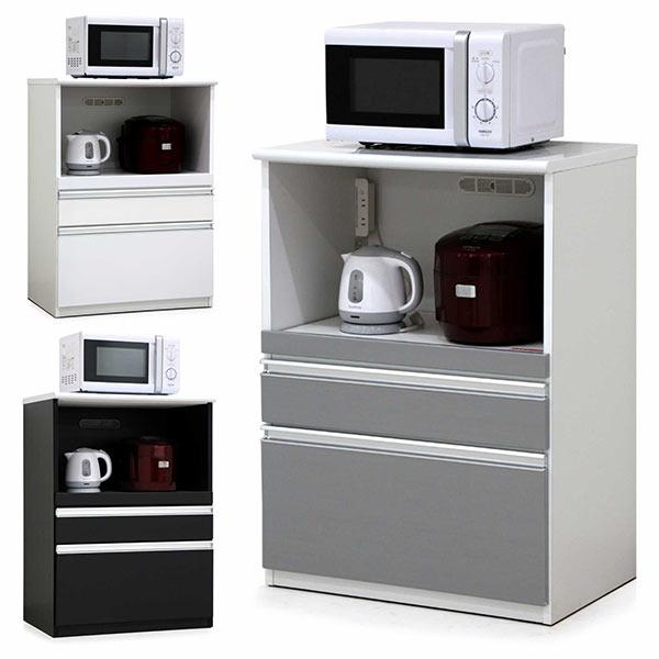 モイス付き キッチンカウンター 完成品 レンジ台 幅70cm ホワイト ブラウン シルバー 選べる3色 キッチン収納 食器収納 MOISS 間仕切り シンプル 木製 国産 送料無料