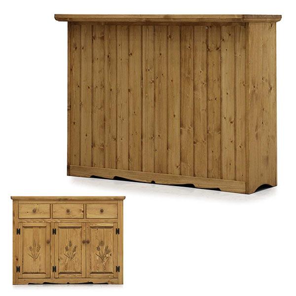 バーカウンター カントリー風 おしゃれ 幅120cm 引出し 扉 開き戸 キッチンカウンター カウンターテーブル カウンター キッチン収納 間仕切り 収納力 パイン 無垢材 天然木 木製 オスモ 自然塗料 モダン 完成品 送料無料