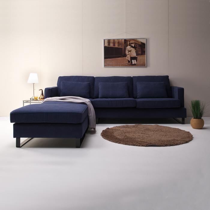 カウチソファー 幅257cm 大きめ 大型 ダークブルー コーナーソファ L字型ソファー 3人掛け 3Pソファー スツール付き クッション付き ファブリック 送料無料