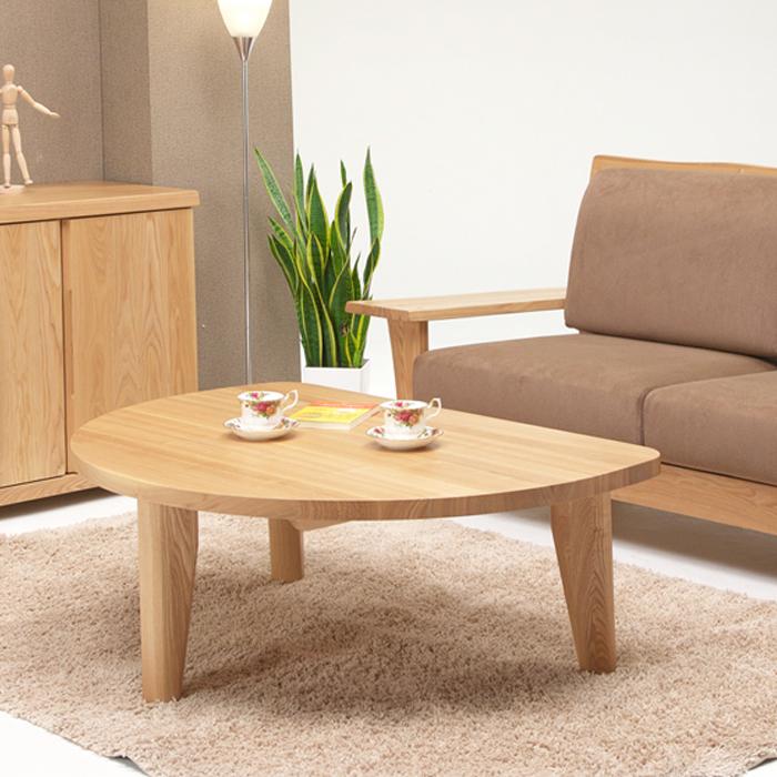 テーブル 座卓 半円テーブル 幅110cm 無垢 リビングテーブル センターテーブル ローテーブル 高さ40cm ナチュラル タモ材 北欧 シンプル モダン 木製 無垢 送料無料 通販