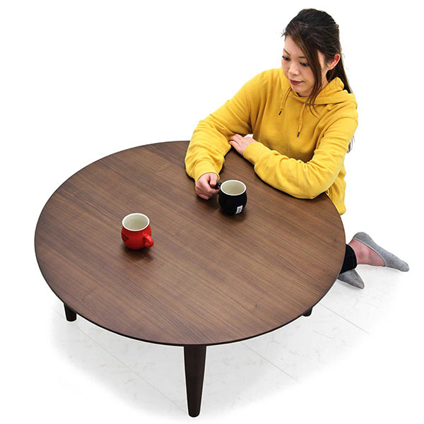 丸テーブル 幅90cm ローテーブル リビングテーブル 丸型 円形 ウォールナット材 天然木 ブラウン センターテーブル コンパクト 省スペース テーパード ウレタン塗装 和室 洋室 高級感 リビング 座卓 木製 ちゃぶ台 シンプル 送料無料