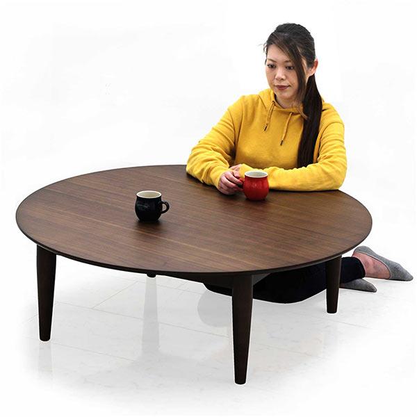 丸テーブル 幅110cm ローテーブル リビングテーブル 丸型 円形 ウォールナット材 天然木 ブラウン センターテーブル コンパクト 省スペース テーパード ウレタン塗装 和室 洋室 高級感 リビング 座卓 木製 ちゃぶ台 シンプル 送料無料