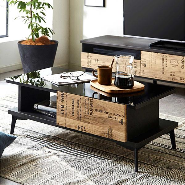 テーブル ガラステーブル センターテーブル リビングテーブル ローテーブル 幅90cm 90x45 グレー 強化ガラス 長方形 木製 ブルックリンスタイル 英字柄 収納付きテーブル ナチュラル ブラック バイカラー