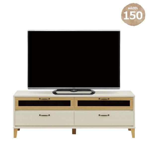 テレビボード 国産 幅150 高さ53 ホワイト ブラウン 選べる2色 脚付き AV収納 テレビ台 北欧 完成品 オーディオ収納 リビング家具 テレビラック テレビ 木製 ローボード 送料無料