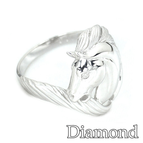 アニマルモチーフリング ダイヤモンド プラチナ ホース 馬 リング HK225