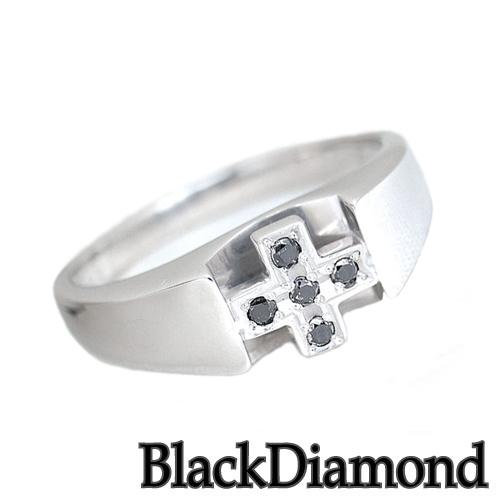 ダイヤモンドリング ブラックダイヤモンド プラチナ クロス リング A1119