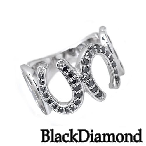 ダイヤモンドリング ブラックダイヤモンド プラチナ 馬蹄 リング HK900