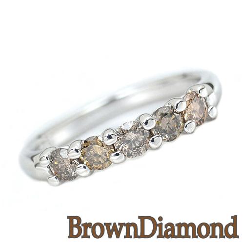 ダイヤモンドリング ブラウンダイヤモンド プラチナ リング HK267