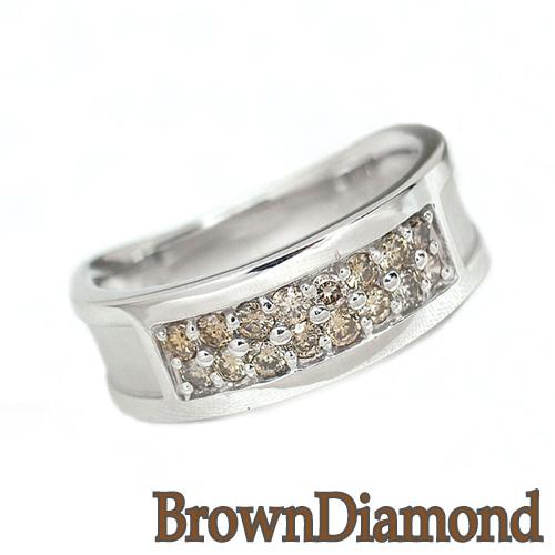 【送料無料/即納】  ダイヤモンドリング ブラウンダイヤモンド ホワイトゴールド リング HK22, あーかんび(AKANBI) cfabc5a2