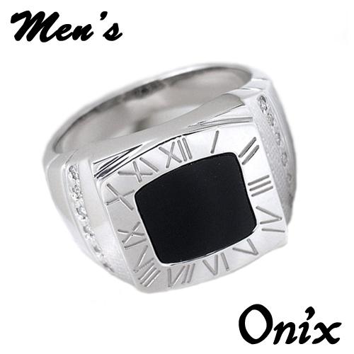 オニキスリング オニキス ホワイトゴールド メンズサイズ リング HK960