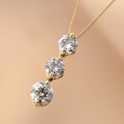 18金 計1.5ctブラウンダイヤ 3ストーンペンダント KG0282 (ダイヤモンド/スリーストーン/I1クラス/K18/1.5カラット/鑑別書付き)
