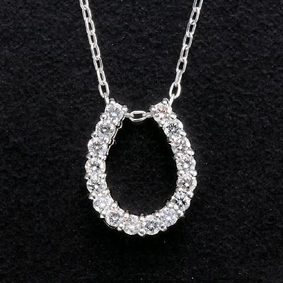 プラチナ 計0.2ctダイヤ馬蹄ペンダント KG0284 (ダイヤモンド/プラチナ/馬蹄型/0.2カラット/鑑別書付き)